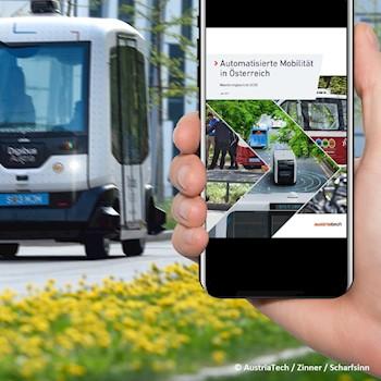 Monitoringbericht ist auf einem Handy abgebildet und im Hintergrund fährt ein autonomer Bus