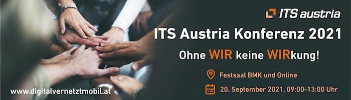 Banner der Veranstaltung ITS Austria Konferenz in Wien am 20.09.2021, von 9 bis 13 Uhr